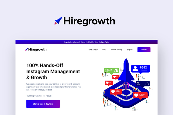 Hiregrowth.co | Instagram Marketing Service Web/Mobile App