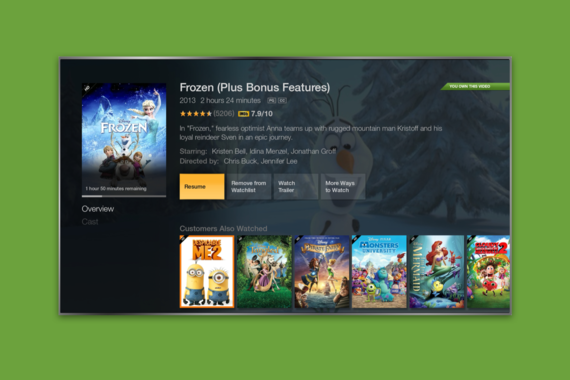 Amazon Fire TV Movie Detail Page