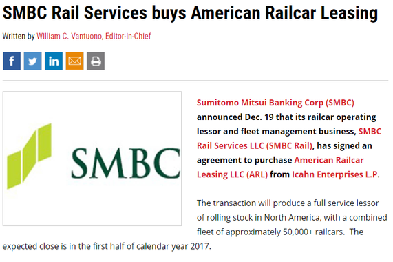 M&A Advisory: Participated in SMBC's Purchase of American Railcar Leasing From Icahn Enterprises