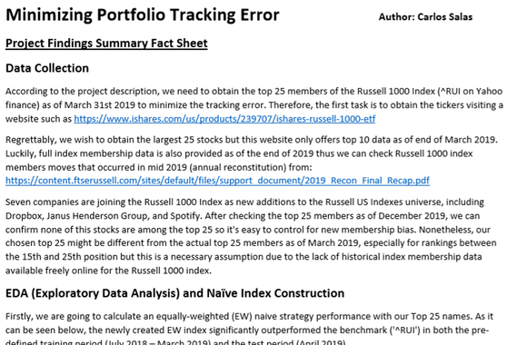 Machine Learning Model: TIC Approach to Minimize Tracking Error