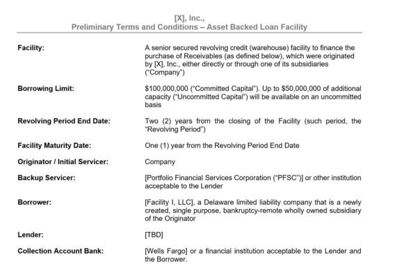 Asset-backed Facility Term Sheet