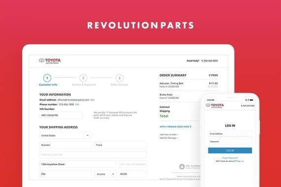 RevolutionParts Checkout and Admin Design