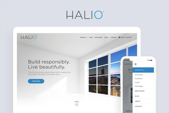 Kinestral Technologies and Halio Glass Website Designs