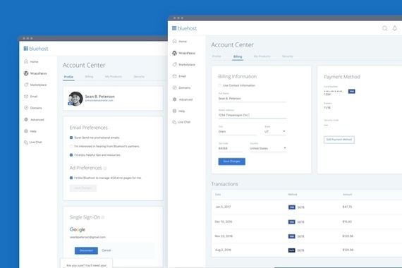 Bluehost Customer Panel Experience Redesign