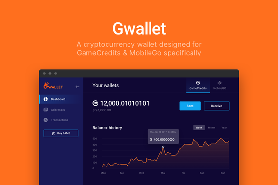 Gwallet | Web Wallet for GameCredits and MobileGo