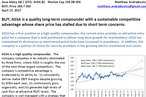 Assa Abloy Stock Investment Thesis