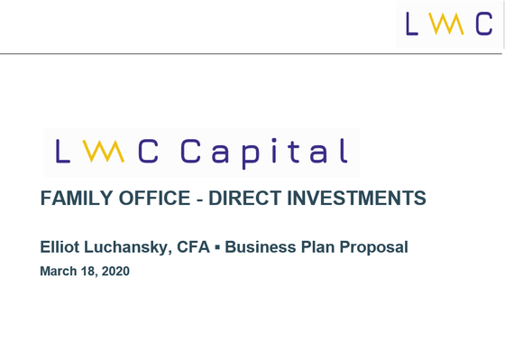 Family Office Direct Investments Business Plan (Proposal)