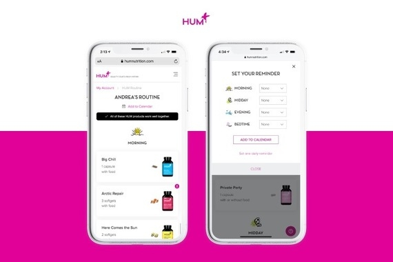 HUM Nutrition : Custom Routine and Reminders