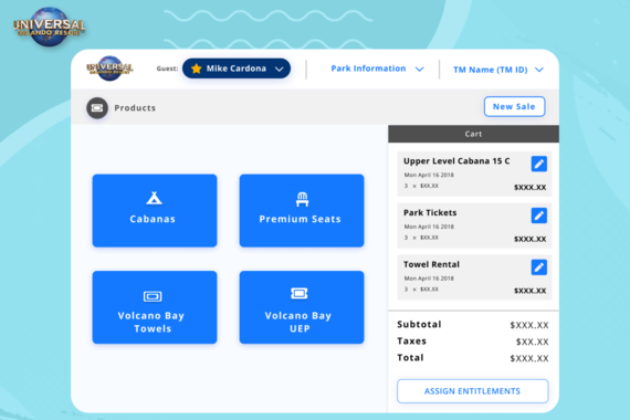 Universal Studios Point of Sale Terminal Redesign