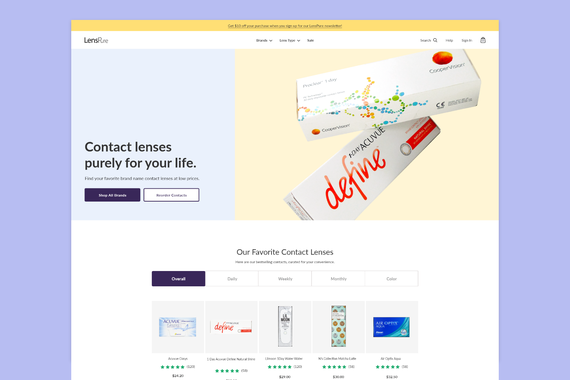 LensPure - Homepage Redesign for eCommerce Site