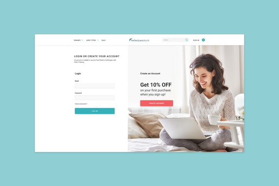 PerfectLensWorld - Login and Registration Page UX/UI Enhancements for eCommerce Site