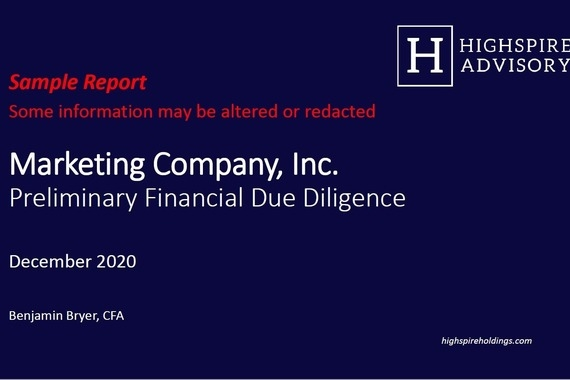 Preliminary Financial Due Diligence Report
