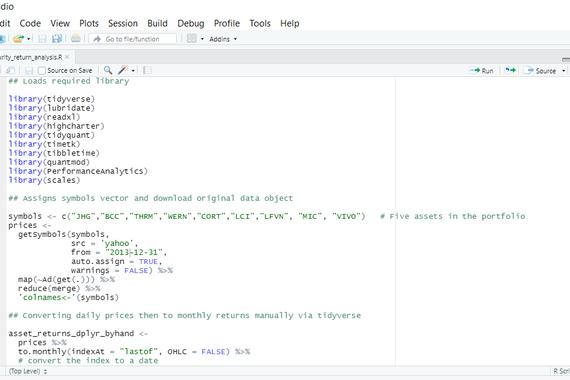 Portfolio Management Analysis via Programming (R)