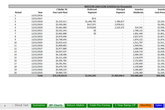 Restaurant Private Equity Financial Modeling
