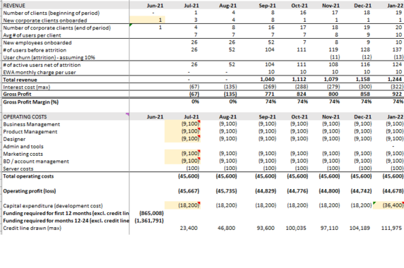 Financial Modeling for an Early-stage Startup