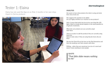 Usability Testing Sessions with Skin Care Therapists